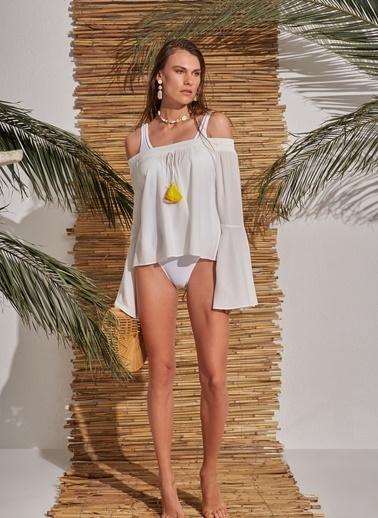 Morhipo Beach Düşük Omuz Püsküllü Bluz Ekru